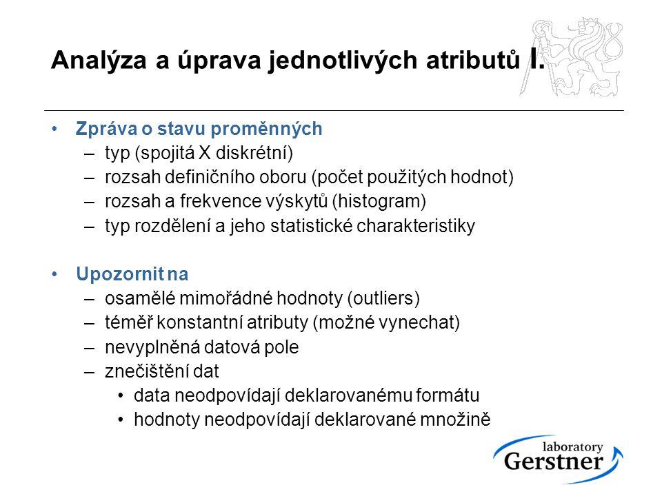 Analýza a úprava jednotlivých atributů II.