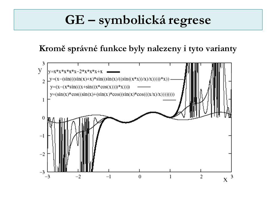 GE – symbolická regrese Kromě správné funkce byly nalezeny i tyto varianty