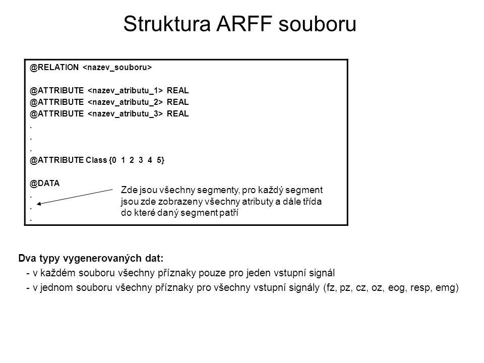 Struktura ARFF souboru Dva typy vygenerovaných dat: - v každém souboru všechny příznaky pouze pro jeden vstupní signál - v jednom souboru všechny příz