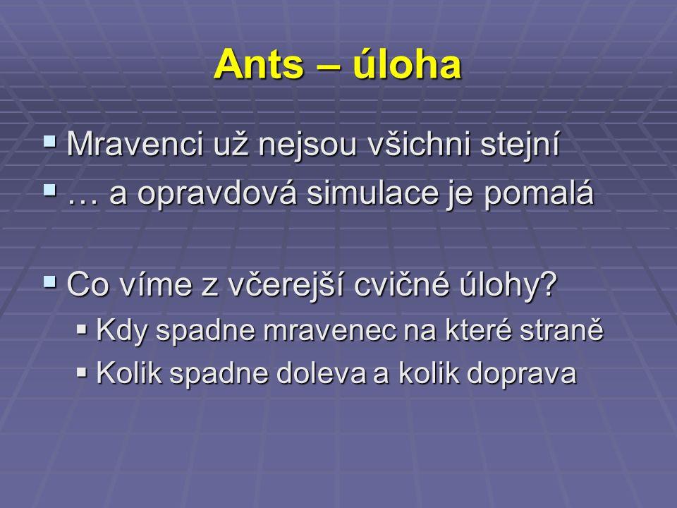 Ants – úloha  Mravenci už nejsou všichni stejní  … a opravdová simulace je pomalá  Co víme z včerejší cvičné úlohy.