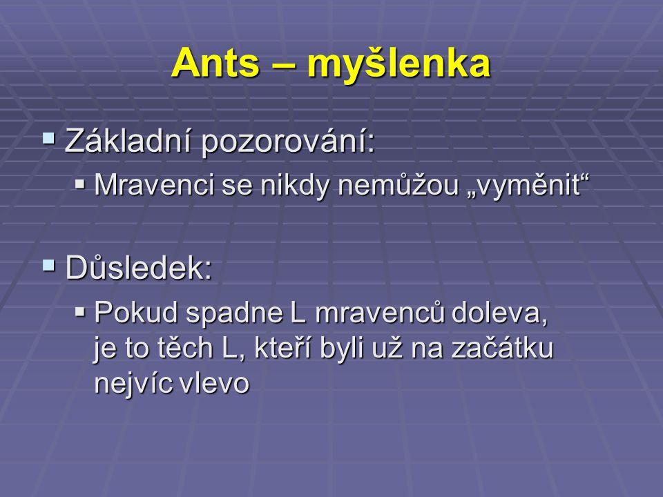 """Ants – myšlenka  Základní pozorování:  Mravenci se nikdy nemůžou """"vyměnit  Důsledek:  Pokud spadne L mravenců doleva, je to těch L, kteří byli už na začátku nejvíc vlevo"""