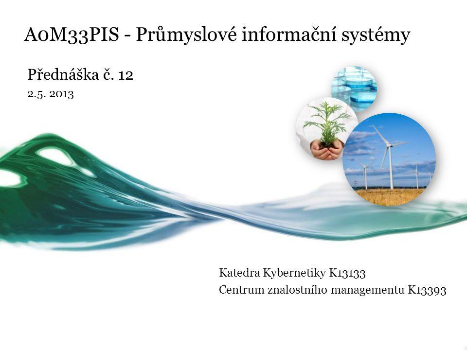 A0M33PIS - Průmyslové informační systémy Přednáška č. 12 2.5. 2013 Katedra Kybernetiky K13133 Centrum znalostního managementu K13393
