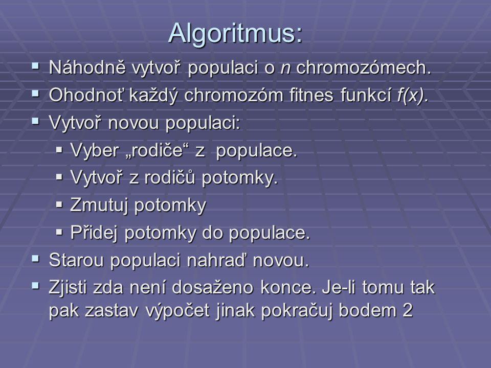 """Algoritmus:  Náhodně vytvoř populaci o n chromozómech.  Ohodnoť každý chromozóm fitnes funkcí f(x).  Vytvoř novou populaci:  Vyber """"rodiče"""" z popu"""