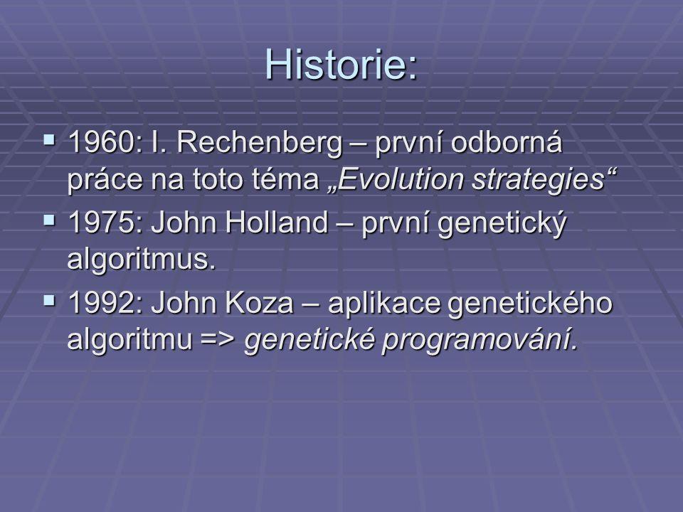 """Historie:  1960: I. Rechenberg – první odborná práce na toto téma """"Evolution strategies""""  1975: John Holland – první genetický algoritmus.  1992: J"""