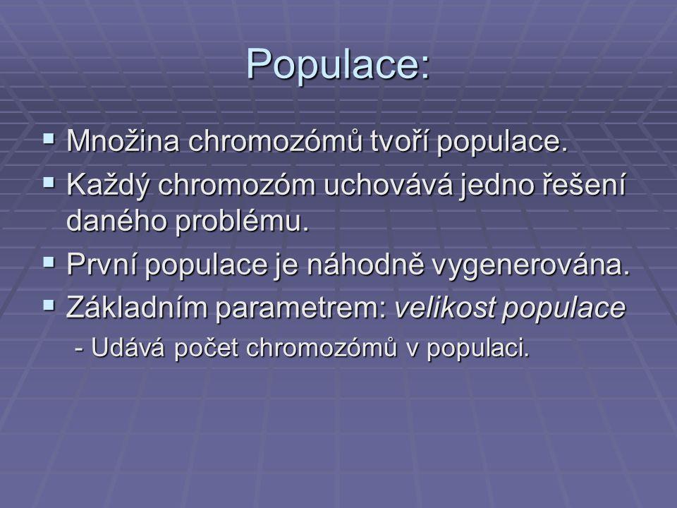 Populace:  Množina chromozómů tvoří populace.  Každý chromozóm uchovává jedno řešení daného problému.  První populace je náhodně vygenerována.  Zá