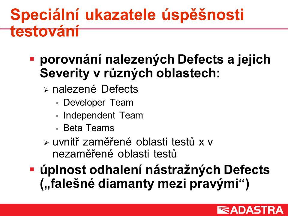 """Speciální ukazatele úspěšnosti testování  porovnání nalezených Defects a jejich Severity v různých oblastech:  nalezené Defects  Developer Team  Independent Team  Beta Teams  uvnitř zaměřené oblasti testů x v nezaměřené oblasti testů  úplnost odhalení nástražných Defects (""""falešné diamanty mezi pravými )"""