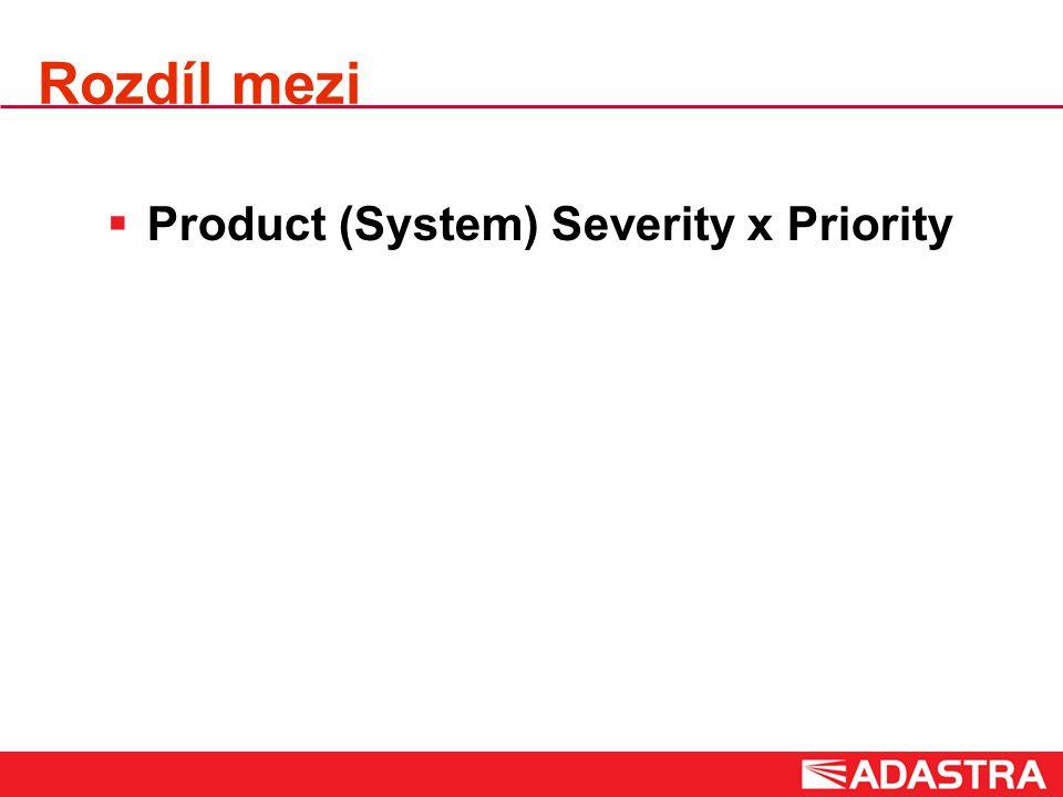 Rozdíl mezi  Product (System) Severity x Priority