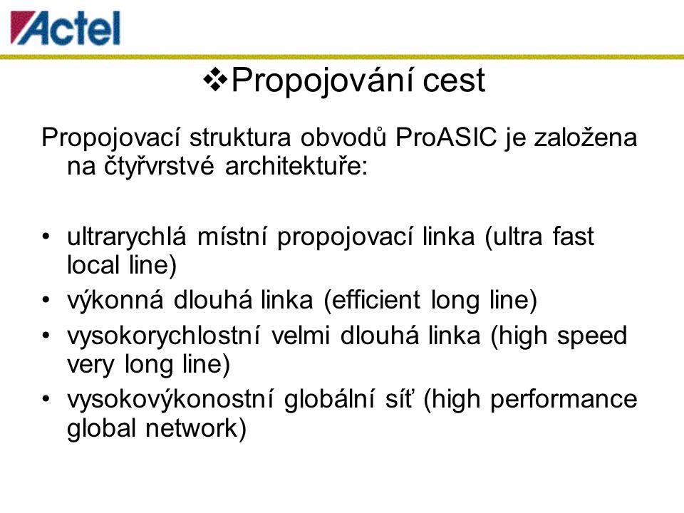  Propojování cest Propojovací struktura obvodů ProASIC je založena na čtyřvrstvé architektuře: ultrarychlá místní propojovací linka (ultra fast local