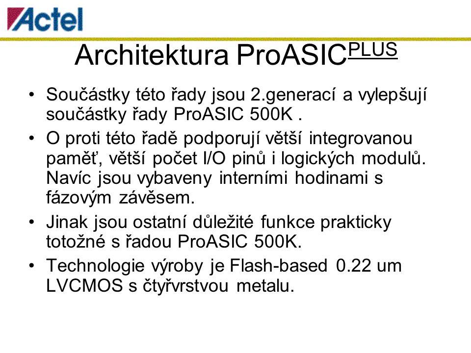 Architektura ProASIC PLUS Součástky této řady jsou 2.generací a vylepšují součástky řady ProASIC 500K.