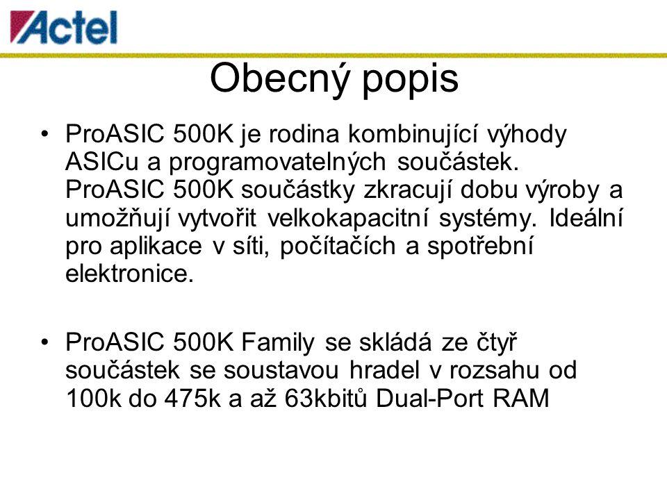 Obecný popis ProASIC 500K je rodina kombinující výhody ASICu a programovatelných součástek.
