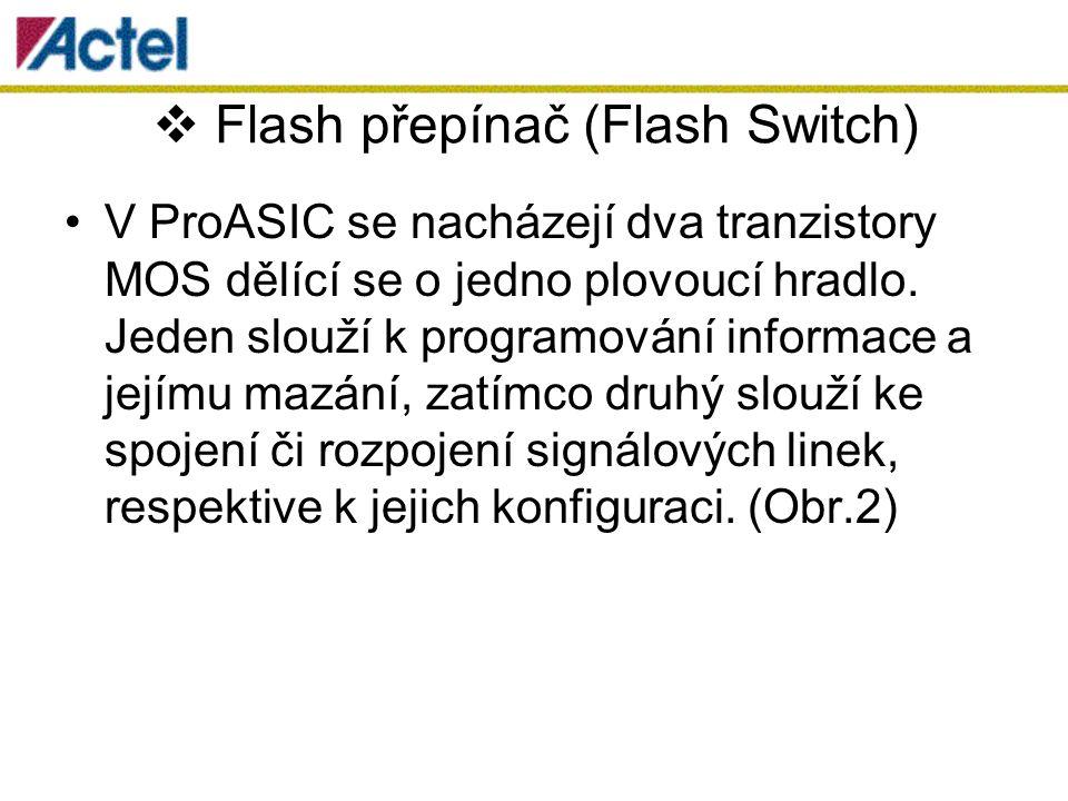  Flash přepínač (Flash Switch) V ProASIC se nacházejí dva tranzistory MOS dělící se o jedno plovoucí hradlo.