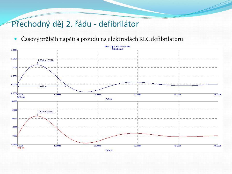 Přechodný děj 2. řádu - defibrilátor Časový průběh napětí a proudu na elektrodách RLC defibrilátoru