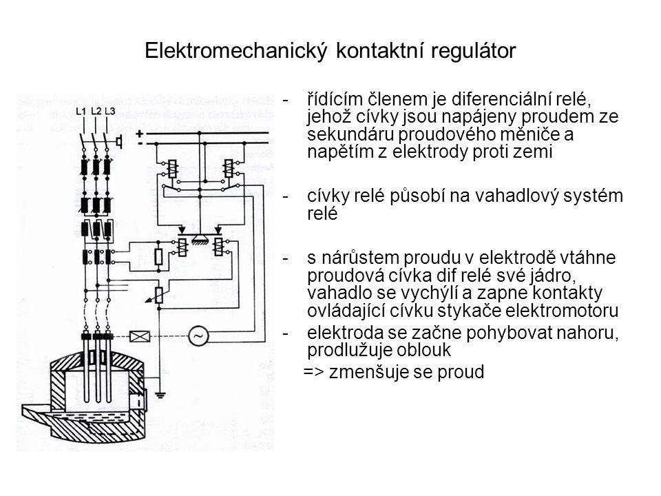 Elektromechanický kontaktní regulátor -řídícím členem je diferenciální relé, jehož cívky jsou napájeny proudem ze sekundáru proudového měniče a napětí