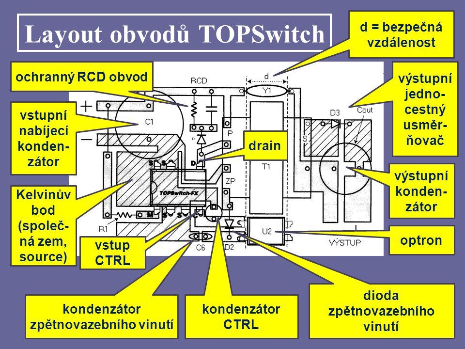 Layout obvodů TOPSwitch výstupní jedno- cestný usměr- ňovač výstupní konden- zátor optron ochranný RCD obvod vstupní nabíjecí konden- zátor Kelvinův b