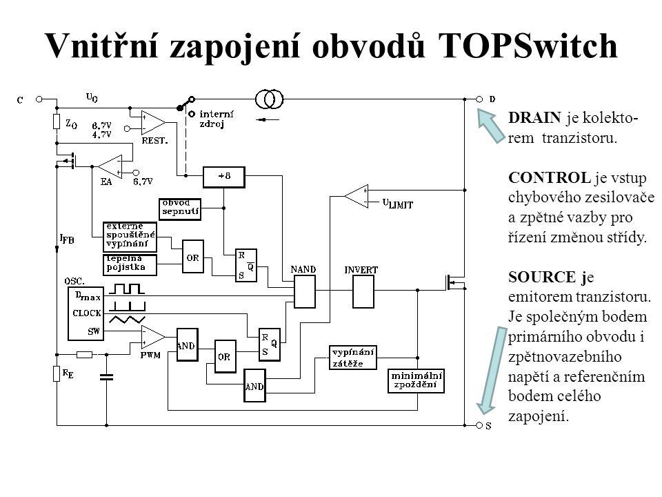 Řízení střídy spínání Velká hodnota proudu do vstupu CTRL (velké napětí na napájecím kondenzátor u C CTRL ) = velké výstupní napětí U OUT = malá střída D spínání PWM.