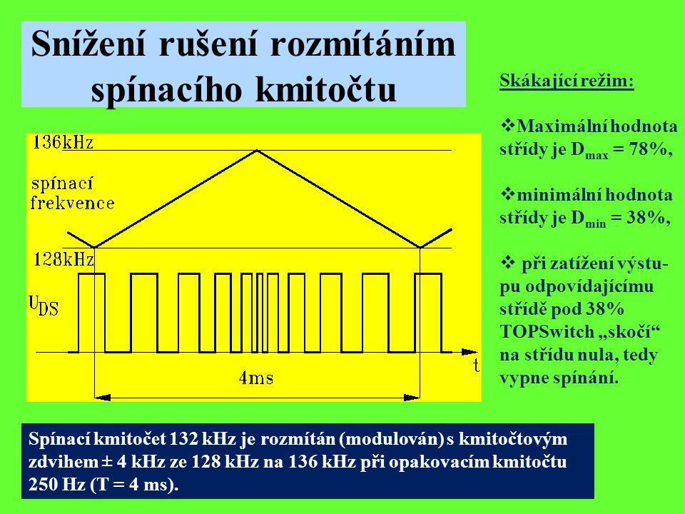 Snížení rušení rozmítáním spínacího kmitočtu Spínací kmitočet 132 kHz je rozmítán (modulován) s kmitočtovým zdvihem ± 4 kHz ze 128 kHz na 136 kHz při
