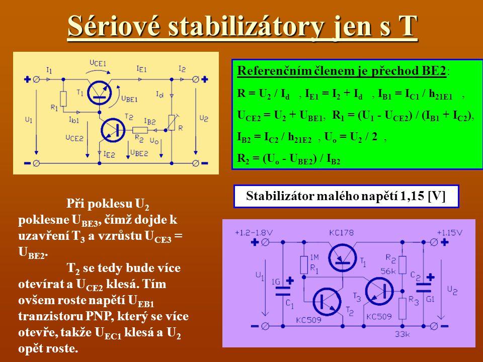 Sériové stabilizátory jen s T Referenčním členem je přechod BE2 : R = U 2 / I d, I E1 = I 2 + I d, I B1 = I C1 / h 21E1, U CE2 = U 2 + U BE1, R 1 = (U