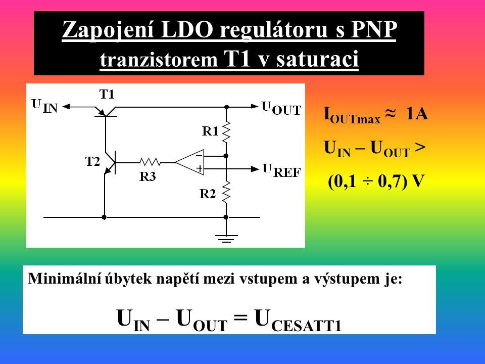 Zapojení LDO regulátoru s PNP tranzistorem T1 v saturaci Minimální úbytek napětí mezi vstupem a výstupem je: U IN – U OUT = U CESATT1 I OUTmax ≈ 1A U