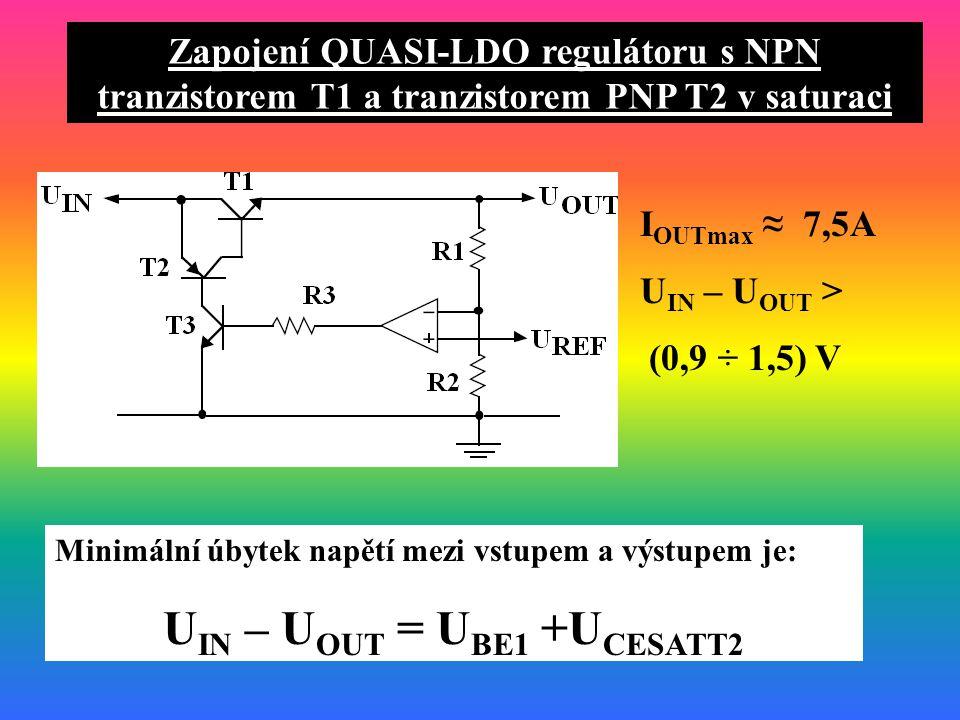 Zapojení QUASI-LDO regulátoru s NPN tranzistorem T1 a tranzistorem PNP T2 v saturaci Minimální úbytek napětí mezi vstupem a výstupem je: U IN – U OUT