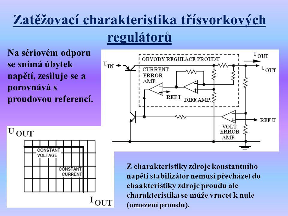Zatěžovací charakteristika třísvorkových regulátorů Na sériovém odporu se snímá úbytek napětí, zesiluje se a porovnává s proudovou referencí. Z charak