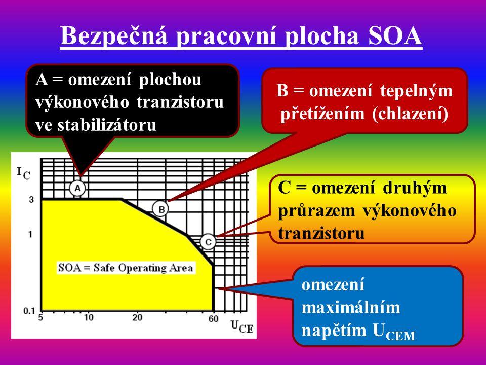Bezpečná pracovní plocha SOA A = omezení plochou výkonového tranzistoru ve stabilizátoru B = omezení tepelným přetížením (chlazení) C = omezení druhým