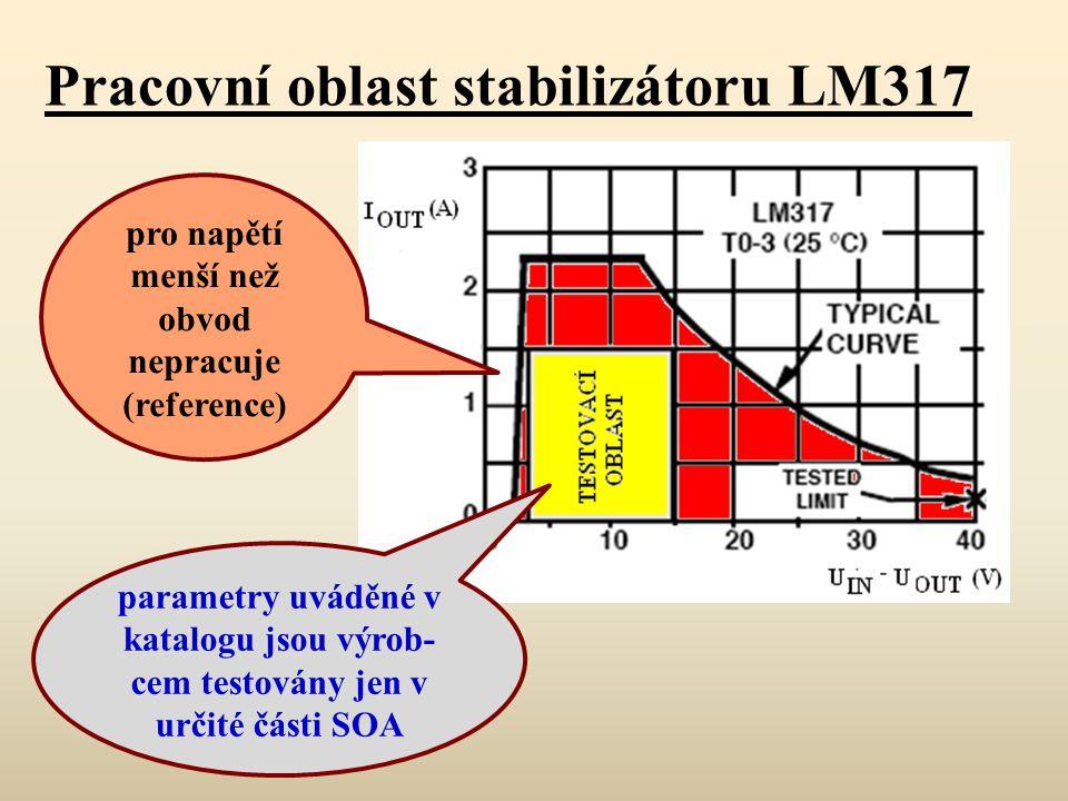 Pracovní oblast stabilizátoru LM317 parametry uváděné v katalogu jsou výrob- cem testovány jen v určité části SOA pro napětí menší než obvod nepracuje