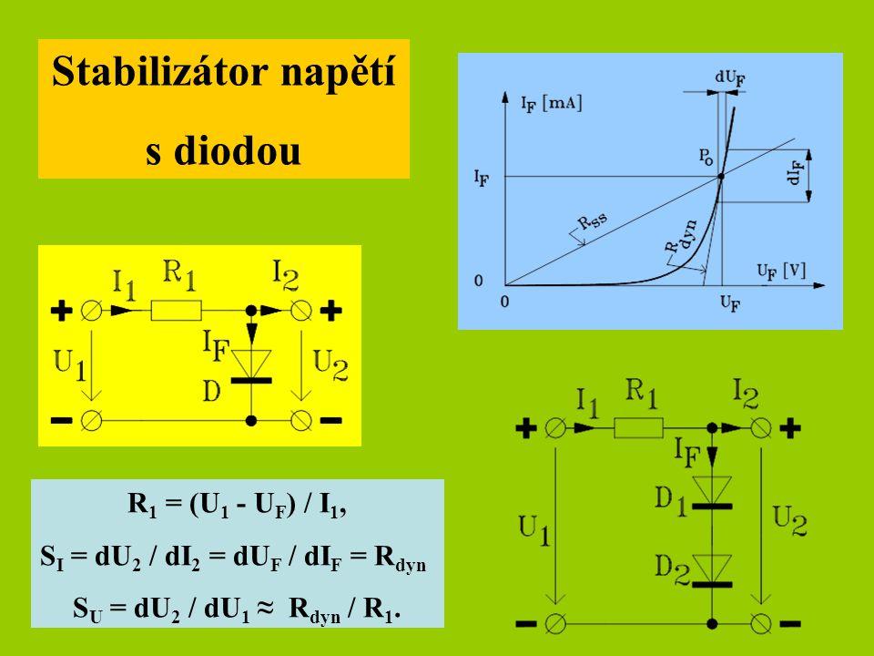 Sériový stabilizovaný zdroj napětí s operačním zesilovačem U 1 = U 2 + U CE, I B = I C / h 21E, U 3 = U 2 + U BE + U R3, R 3 = U R3 / I B, R 1 = (U 1 - U ZD ) / I ZD, I ZD ≈ 2 [mA], U ZD volíme ≈ 6 [V] pro α TKUZD = min., I d volíme 1 [mA], R 5 = U 2 / I d, R2 a R4 volíme např.