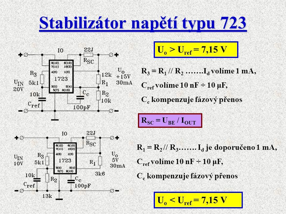 Stabilizátor napětí typu 723 U o > U ref = 7,15 V U o < U ref = 7,15 V R SC = U BE / I OUT R 3 = R 1 // R 2 …….I d volíme 1 mA, C ref volíme 10 nF ÷ 1
