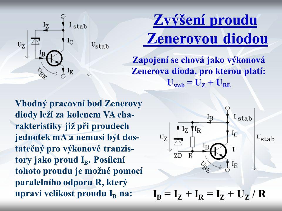 Zvýšení proudu Zenerovou diodou Zapojení se chová jako výkonová Zenerova dioda, pro kterou platí: U stab = U Z + U BE Vhodný pracovní bod Zenerovy dio