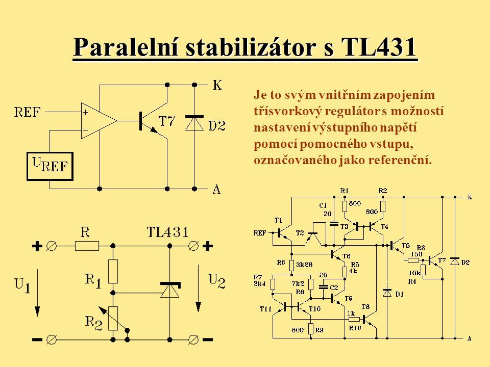 Klasické zapojení regulátoru s NPN tranzistorem T1 (velký úbytek napětí) Minimální úbytek napětí mezi vstupem a výstupem je: U IN – U OUT = U BET1 + U BET2 + U CESATT3 I OUTmax ≈ 10A U IN – U OUT > (1,7 ÷ 2,5) V