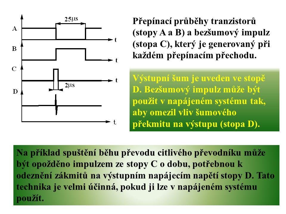 Přepínací průběhy tranzistorů (stopy A a B) a bezšumový impulz (stopa C), který je generovaný při každém přepínacím přechodu. Výstupní šum je uveden v