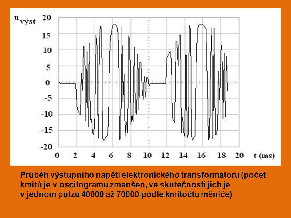 Průběh výstupního napětí elektronického transformátoru (počet kmitů je v oscilogramu zmenšen, ve skutečnosti jich je v jednom pulzu 40000 až 70000 pod