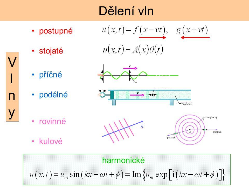 Dělení vln postupné stojaté příčné podélné rovinné kulové harmonické VlnyVlny