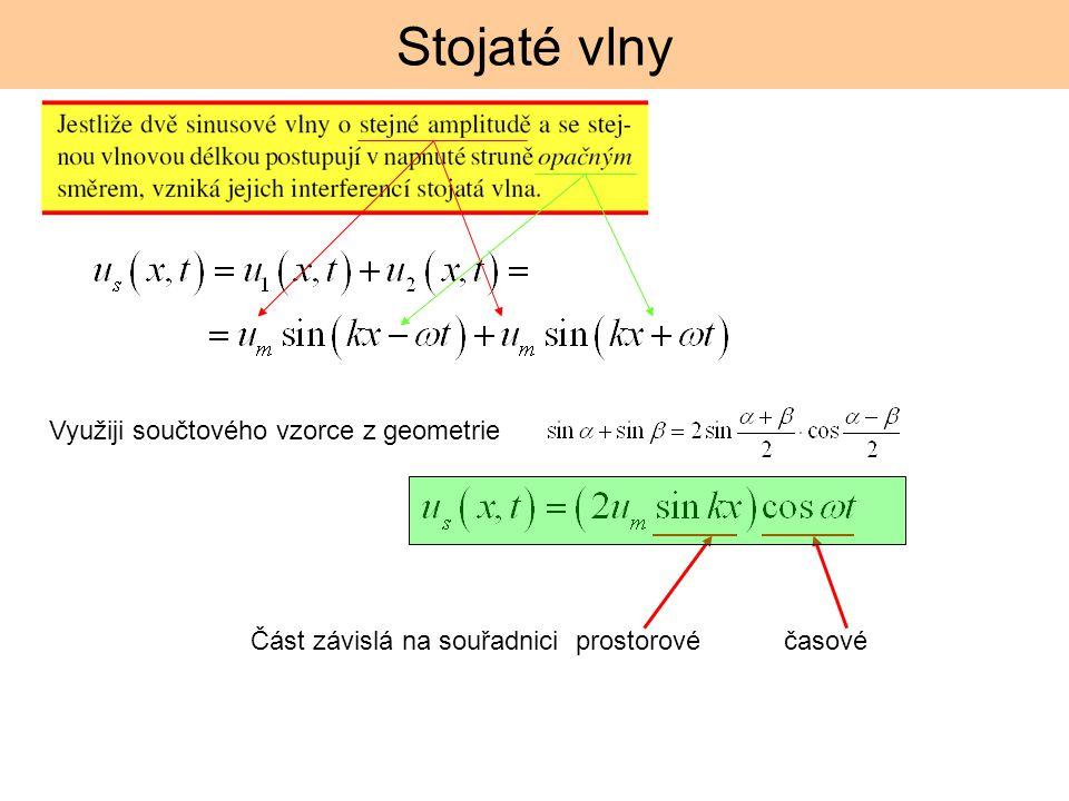 Stojaté vlny Část závislá na souřadnici prostorové časové Využiji součtového vzorce z geometrie