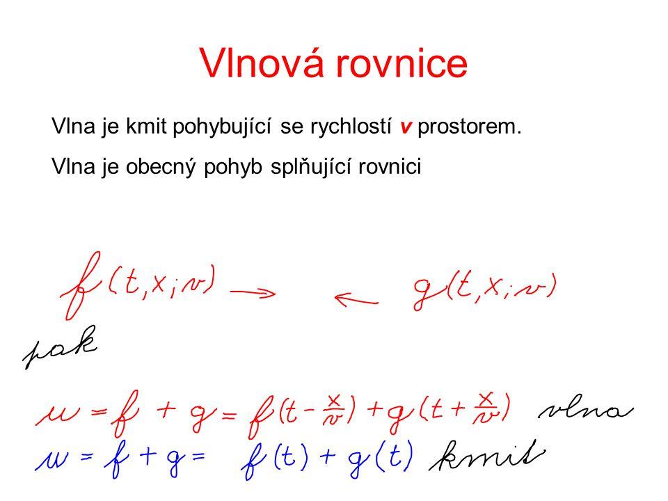 Vlnová rovnice Vlna je kmit pohybující se rychlostí v prostorem. Vlna je obecný pohyb splňující rovnici