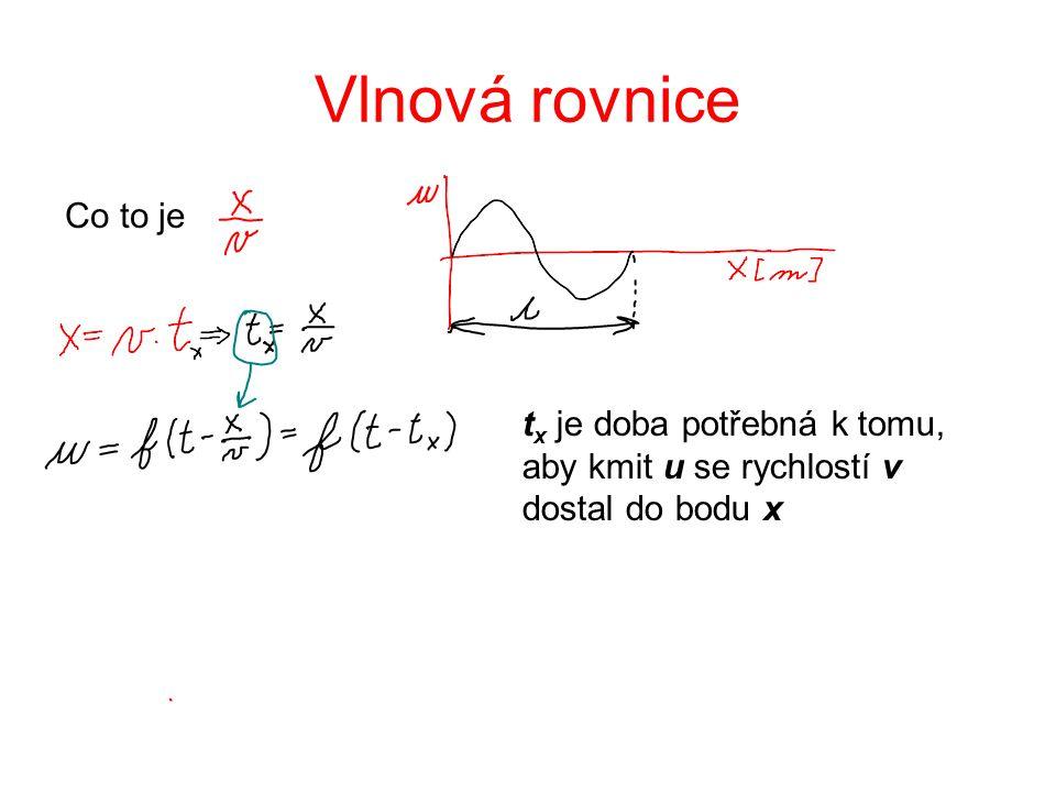 Vlnová rovnice Co to je t x je doba potřebná k tomu, aby kmit u se rychlostí v dostal do bodu x
