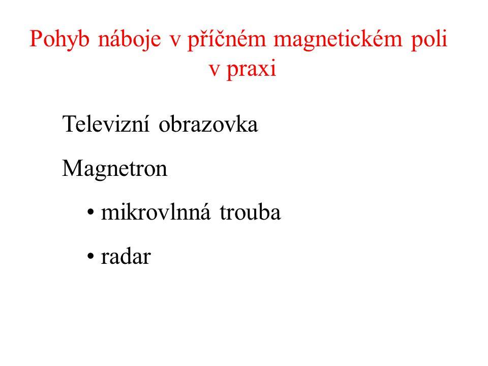 Pohyb náboje v příčném magnetickém poli v praxi Televizní obrazovka Magnetron mikrovlnná trouba radar
