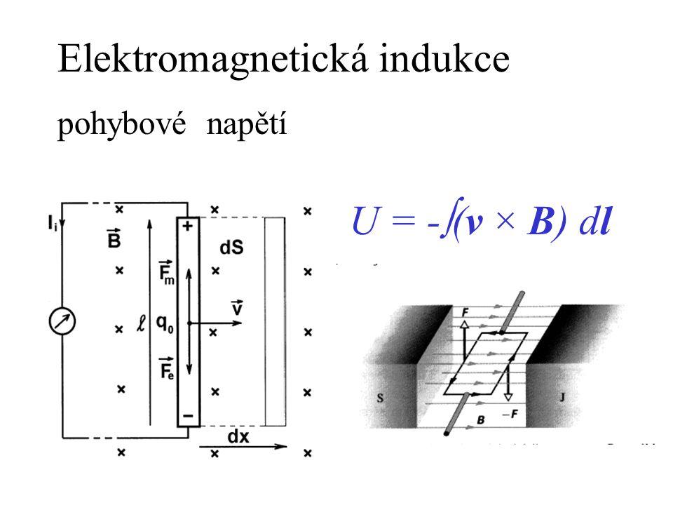 Elektromagnetická indukce pohybové napětí U = -  (v × B) dl
