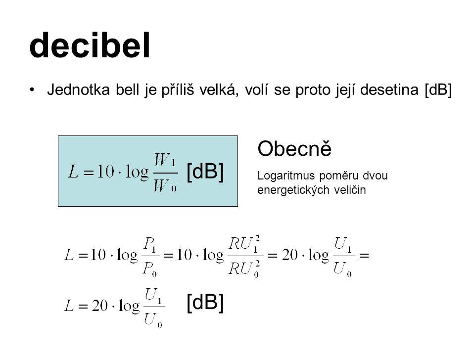 decibel Jednotka bell je příliš velká, volí se proto její desetina [dB] [dB] Obecně Logaritmus poměru dvou energetických veličin