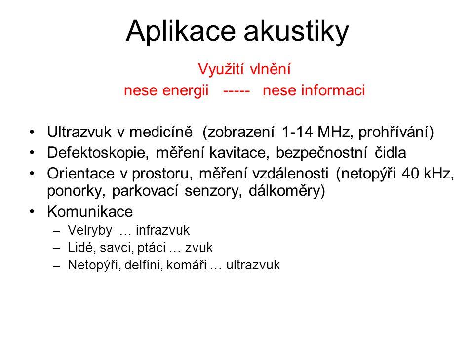 Aplikace akustiky Využití vlnění nese energii ----- nese informaci Ultrazvuk v medicíně (zobrazení 1-14 MHz, prohřívání) Defektoskopie, měření kavitac