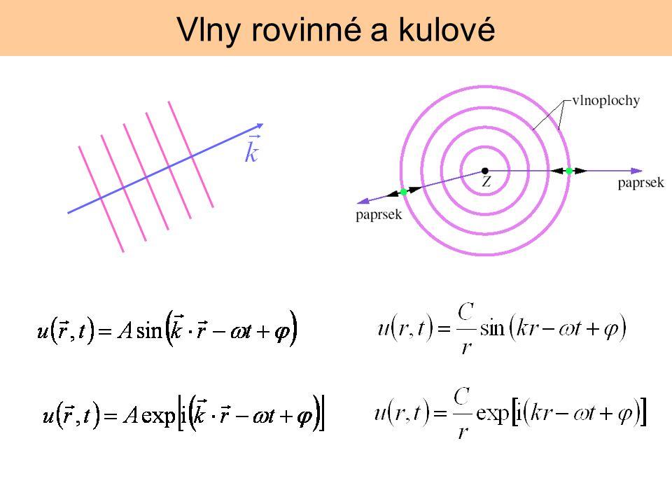 disperzní relace Nejtriviálnější disperzní relace je přímá úměra, fázová a grupová rychlost je potom shodná disperzní relace: závislost úhlové frekvence na vlnovém vektoru disperze: závislost fázové rychlosti nas vlnovém vek´toru (vlnové délce) vlny na vodní hladině Fázová a grupová rychlost