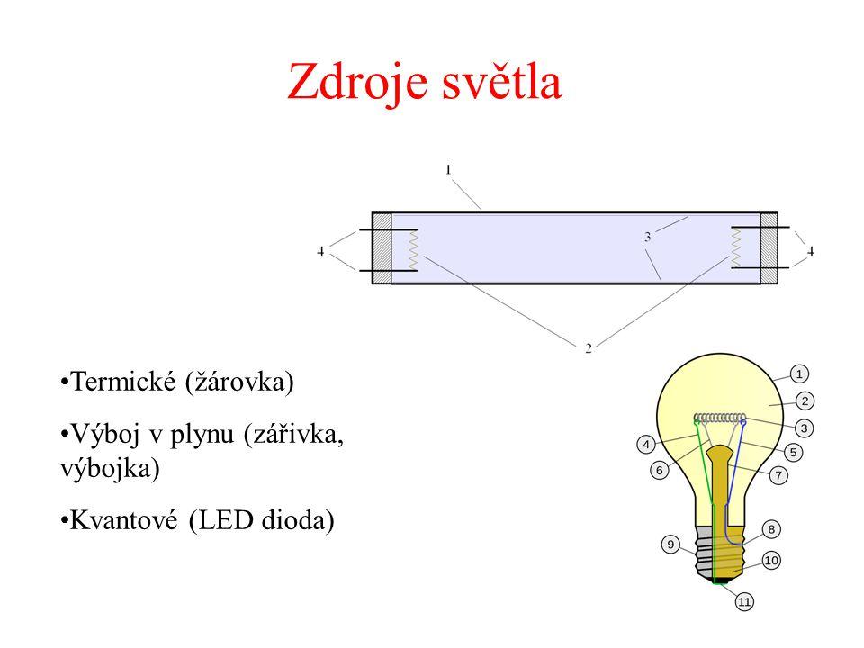 Zdroje světla Termické (žárovka) Výboj v plynu (zářivka, výbojka) Kvantové (LED dioda)