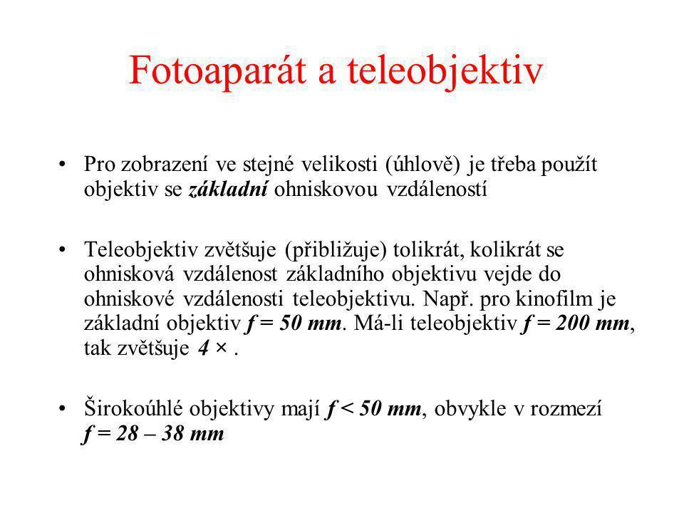Fotoaparát a teleobjektiv Pro zobrazení ve stejné velikosti (úhlově) je třeba použít objektiv se základní ohniskovou vzdáleností Teleobjektiv zvětšuje (přibližuje) tolikrát, kolikrát se ohnisková vzdálenost základního objektivu vejde do ohniskové vzdálenosti teleobjektivu.