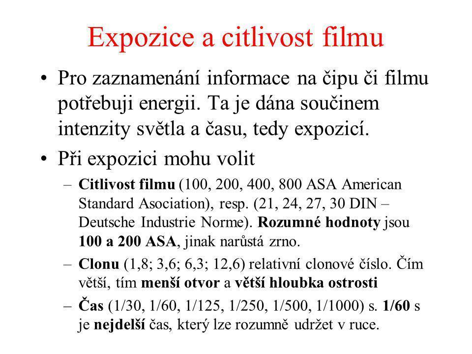 Expozice a citlivost filmu Pro zaznamenání informace na čipu či filmu potřebuji energii. Ta je dána součinem intenzity světla a času, tedy expozicí. P