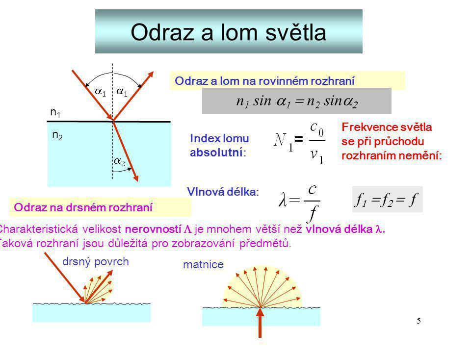 5 Odraz a lom světla n1n1 n2n2    Odraz a lom na rovinném rozhraní Odraz na drsném rozhraní Charakteristická velikost nerovností 