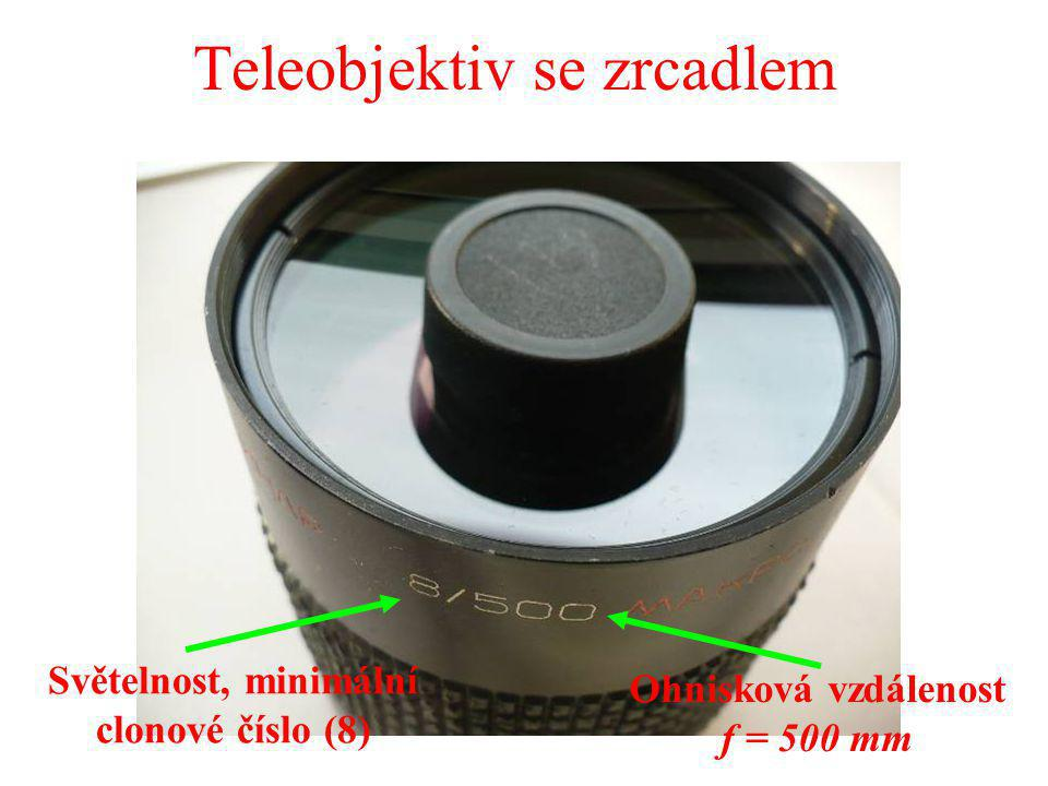 Teleobjektiv se zrcadlem Světelnost, minimální clonové číslo (8) Ohnisková vzdálenost f = 500 mm