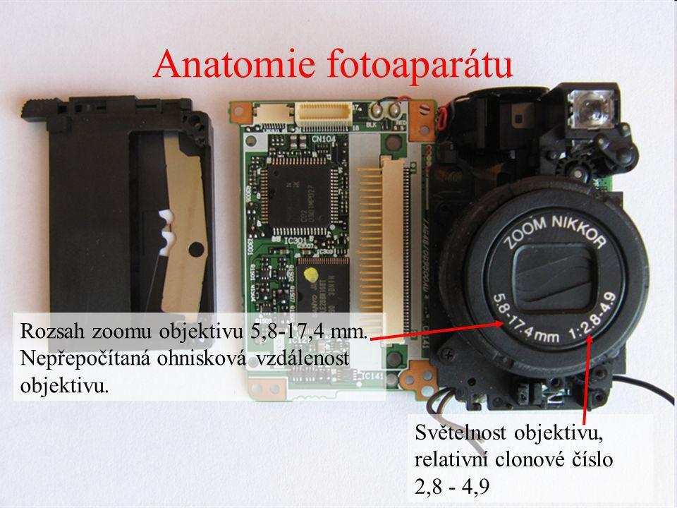 Anatomie fotoaparátu Rozsah zoomu objektivu 5,8-17,4 mm. Nepřepočítaná ohnisková vzdálenost objektivu. Světelnost objektivu, relativní clonové číslo 2