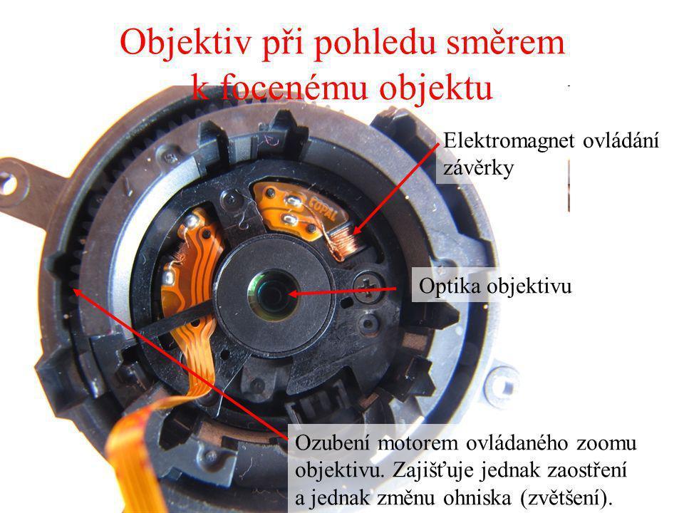 Objektiv při pohledu směrem k focenému objektu Ozubení motorem ovládaného zoomu objektivu. Zajišťuje jednak zaostření a jednak změnu ohniska (zvětšení