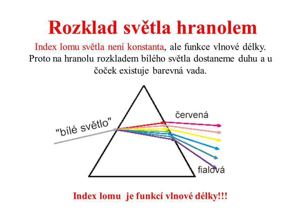 Rozklad světla hranolem Index lomu je funkcí vlnové délky!!! Index lomu světla není konstanta, ale funkce vlnové délky. Proto na hranolu rozkladem bíl