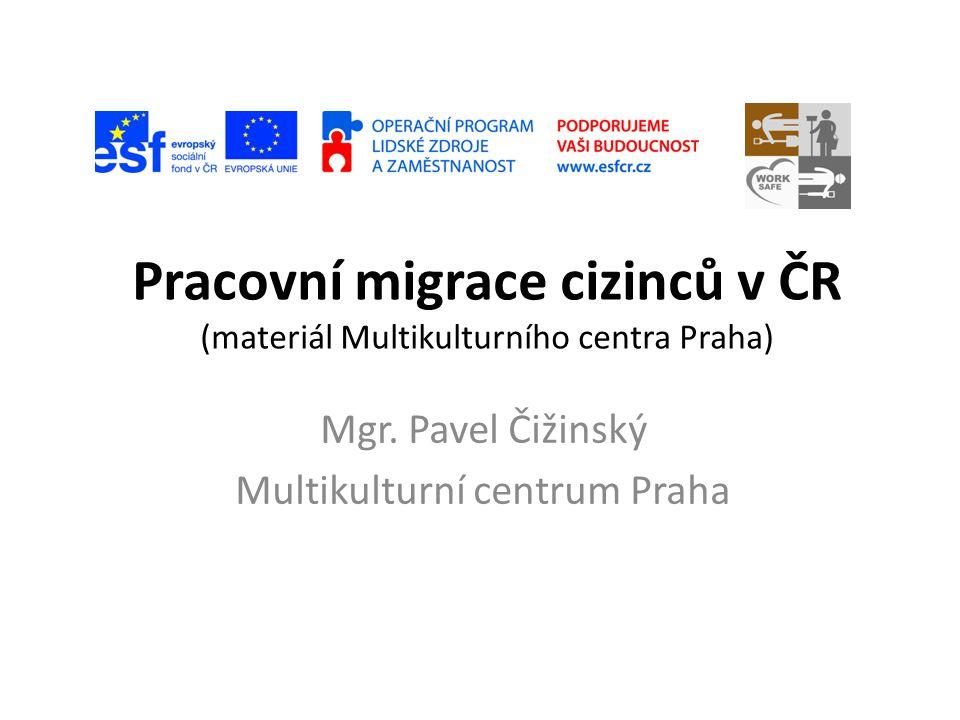 Pracovní migrace cizinců v ČR (materiál Multikulturního centra Praha) Mgr. Pavel Čižinský Multikulturní centrum Praha